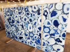 Suministro planchas pulidas 2 cm en piedra semi preciosa natural AGATA BLUE GIANT AG-BLG18. Detalle imagen fotografías