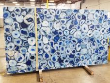 Suministro planchas pulidas 5.1 cm en piedra semi preciosa natural AGATA BLUE AG-BL18. Detalle imagen fotografías