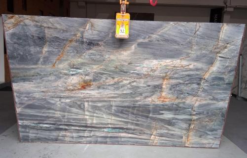 Suministro planchas pulidas 2 cm en cuarcita natural BRITA BLUE Z0359. Detalle imagen fotografías