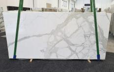 Suministro planchas pulidas 0.8 cm en mármol natural CALACATTA ORO 1244. Detalle imagen fotografías