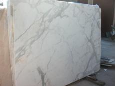 Suministro planchas pulidas 0.8 cm en mármol natural CALACATTA ORO EM_0477. Detalle imagen fotografías