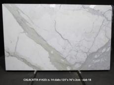 Suministro planchas pulidas 2 cm en mármol natural CALACATTA 1423M. Detalle imagen fotografías