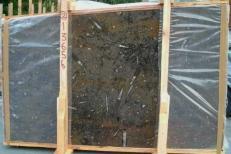 Suministro planchas pulidas 2 cm en mármol natural MARRON FOSSIL E-13656. Detalle imagen fotografías