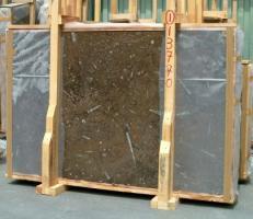 Suministro planchas pulidas 0.8 cm en mármol natural MARRON FOSSIL E-13770. Detalle imagen fotografías