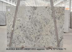 Suministro planchas pulidas 1.2 cm en granito natural WHITE WAVE BQ01432. Detalle imagen fotografías