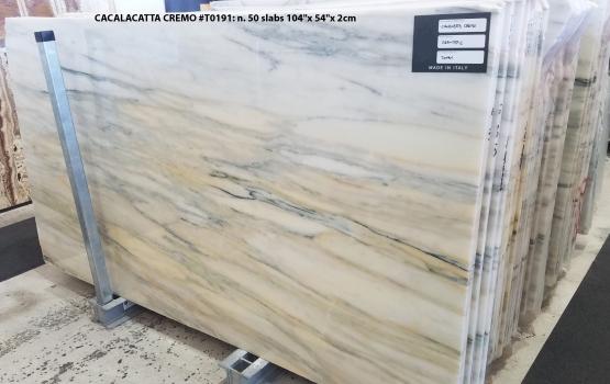 CALACATTA CREMO 50 planchas mármol turco pulido 264.2 x 137.2 x 2 cm piedra natural (disponibles en Veneto, Italia)