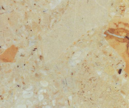 Detallo técnico: BRECCIA AURORA R1050, mármol aglomerado artificial pulido italiano